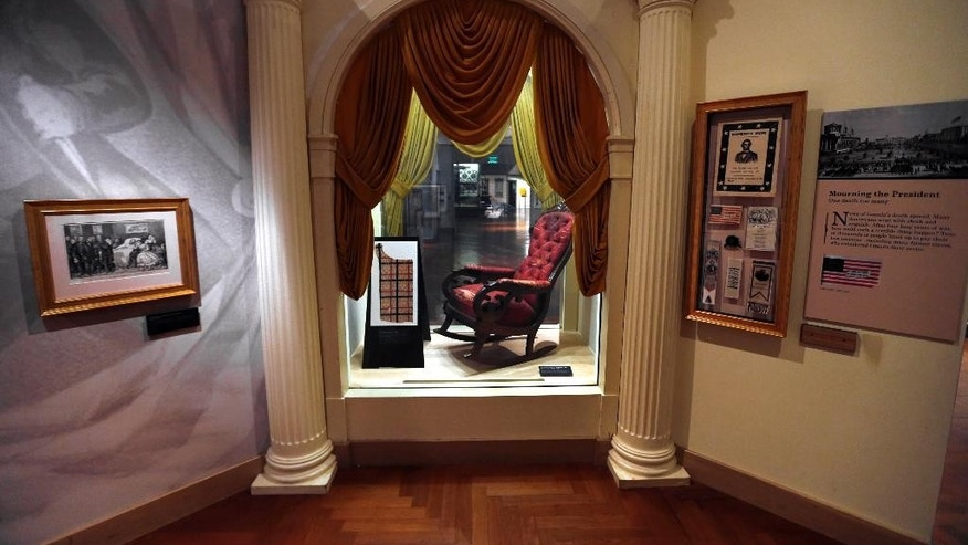 March 23, 2015: The chair in which President Abraham Lincoln was assassinated on April 14, 1865.