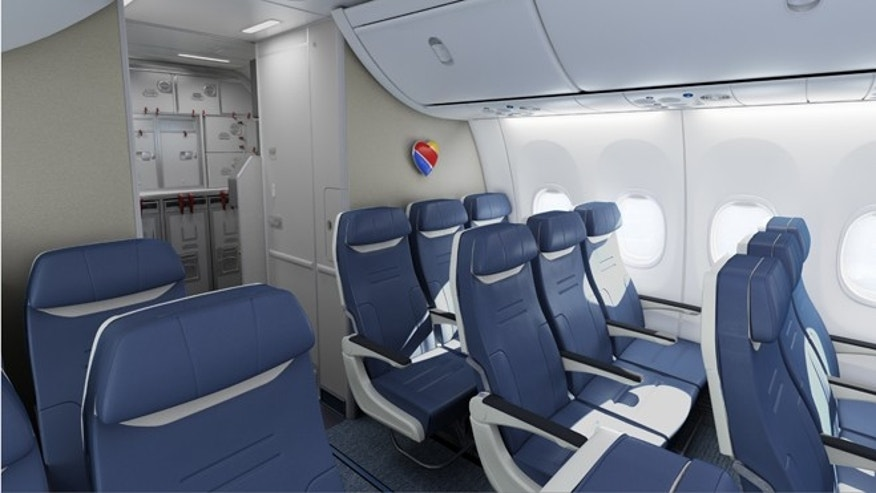 Southwest is launching bold blue seats with 17.8 inches of seat cushion width next year.