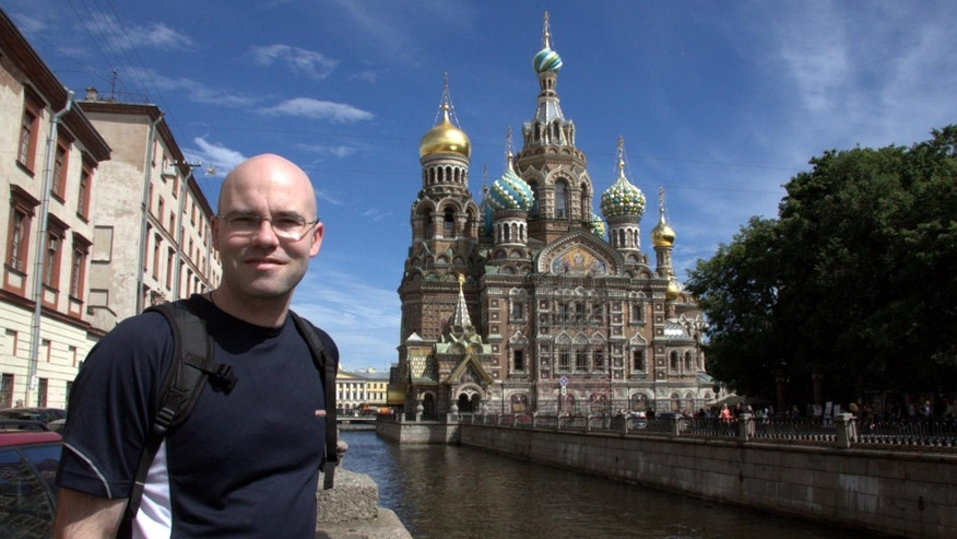Brad Reynolds poses in St. Petersburg, Russia.
