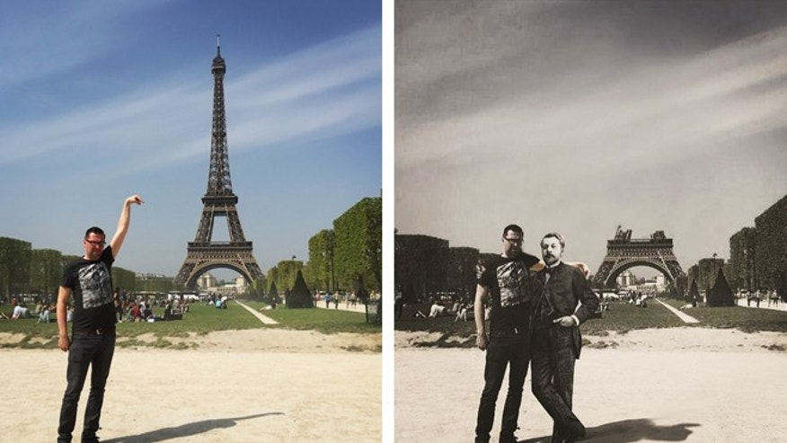 "A tourist's original ""fail"" photo next to a clever recreation with Gustave Eiffel."