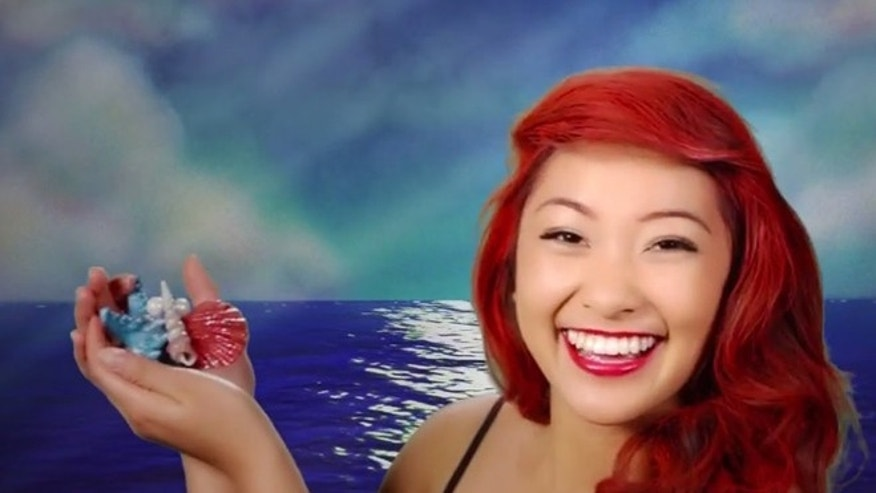 "Ariel in an instant! A model is transformed into the ""Under the Sea"" princess."