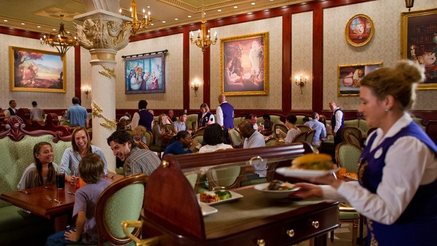Dine in Beast's castle at Disney World's Be Our Guest restaurant.