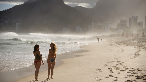 """Ipanema Beach, the world famous beach, widely know by the song """"The Girl from Ipanema"""", bossa nova song written by Antonia Carlos Jobim and Vinicius Moraes, Rio de Janeiro, Brazil"""
