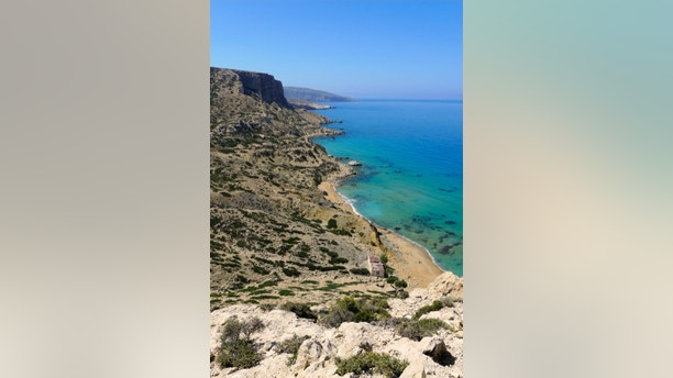Looking down to Red Beach near Matala on Crete