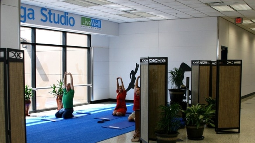 Dallas/Fort Worth International Airport has yoga and a free LiveWell walking path