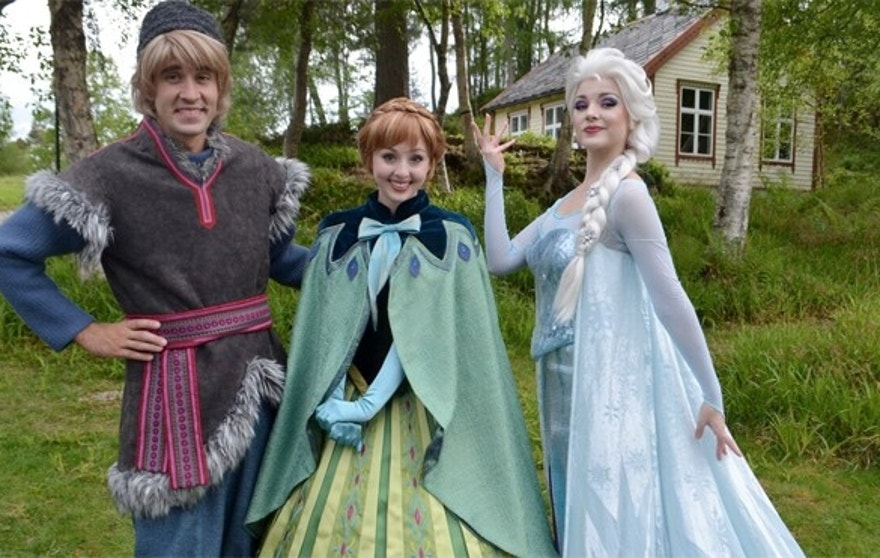 "Kristoff, Anna, and Elsa from Disney's ""Frozen"" make their first appearance in Norway at Ålesund's Sunnmøre Museum."