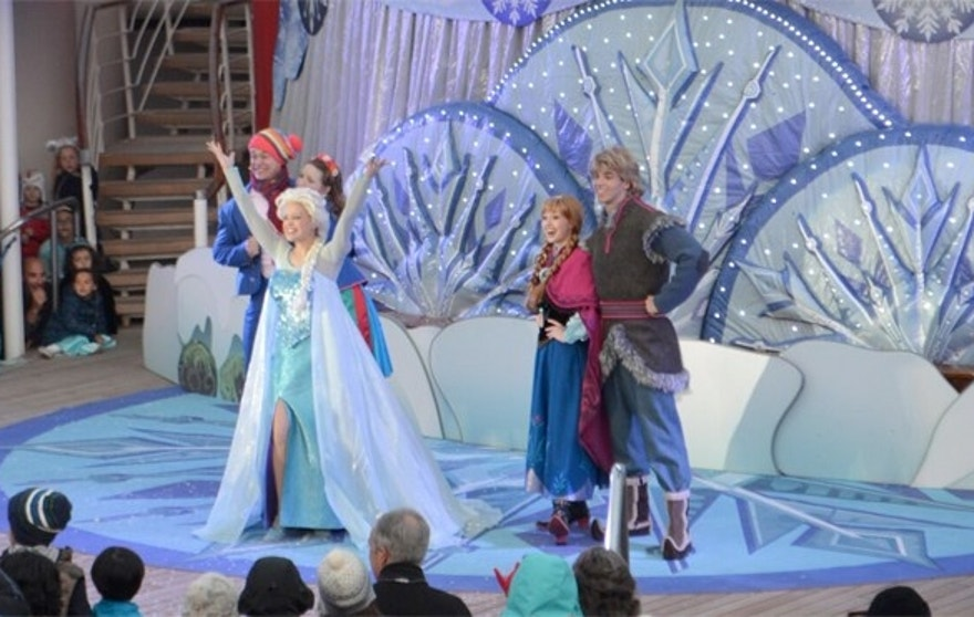 "Big finish to Queen Elsa's ""Let It Go"" sing along during ""Freezing the Night Away"" deck party on board the Disney Magic."