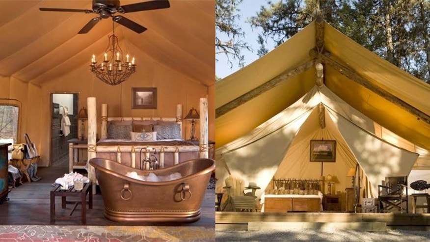 Paws Up's spacious canvas tents boast king-size beds, robes and slippers and gourmet meals.