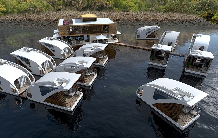 The catamarans dock at a floating hotel station.