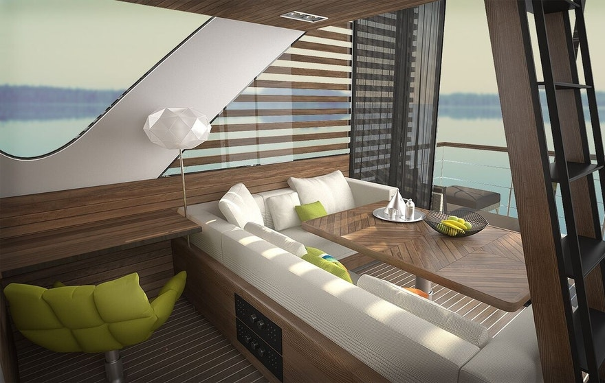The interior of each suite can accommodate up to four passengers.