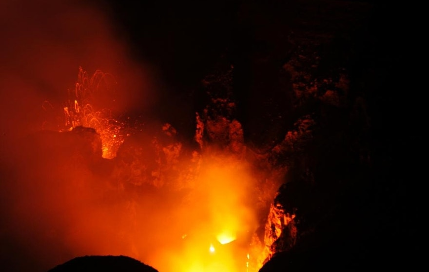 June 1, 2015: At dusk, the explosions begin to resemble fireworks, the lava glittering as it falls from the sky. At just 1,184 feet elevation, the volcano on the Pacific archipelago of Vanuatu is particularly accessible.