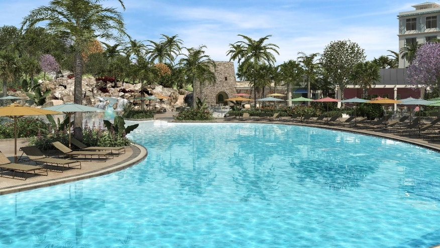 Loews Sapphire Falls Resort features the largest beach-entry pool on Universal's property.