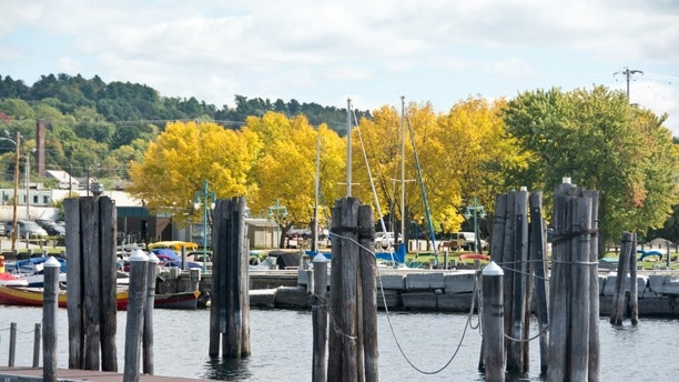 Burlington, VT, USA: Boats line the docks on the Burlington, VT waterfront on this sunny autumn afternoon.