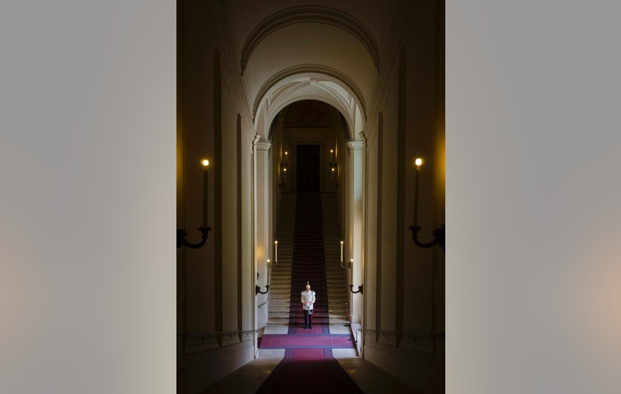 July 9, 2015: A  Cuirassier stands inside the Quirinale Presidential Palace in Rome.