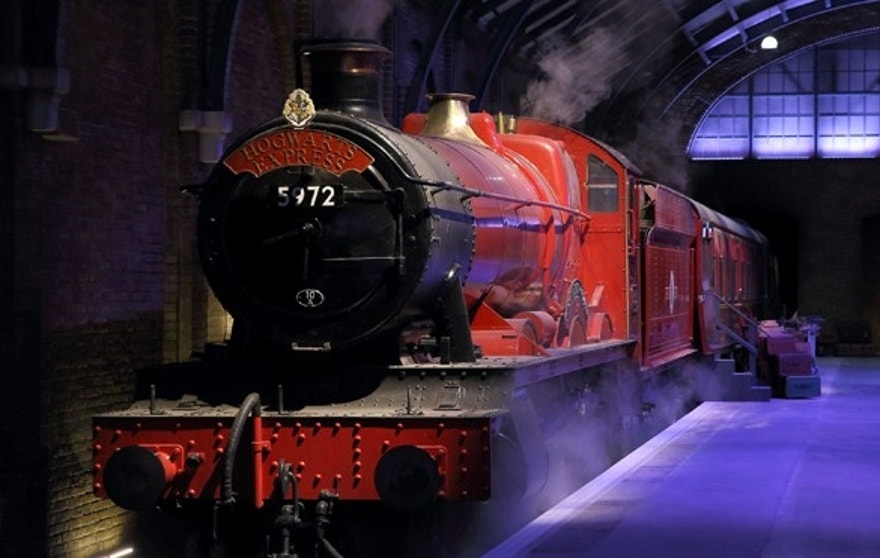 The Hogwarts Express on platform nine and three-quarters.