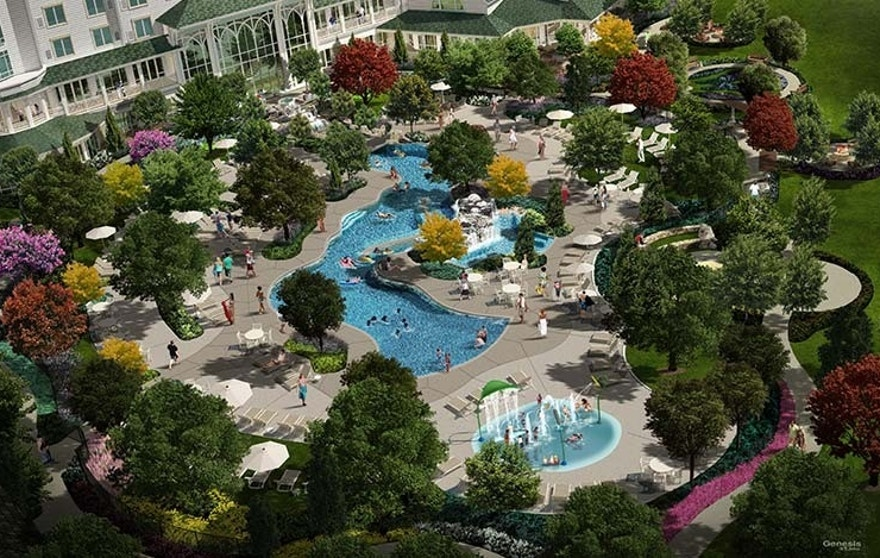 DreamMore Resort's Swimming Hole features a lazy river and large zero-entry pool.