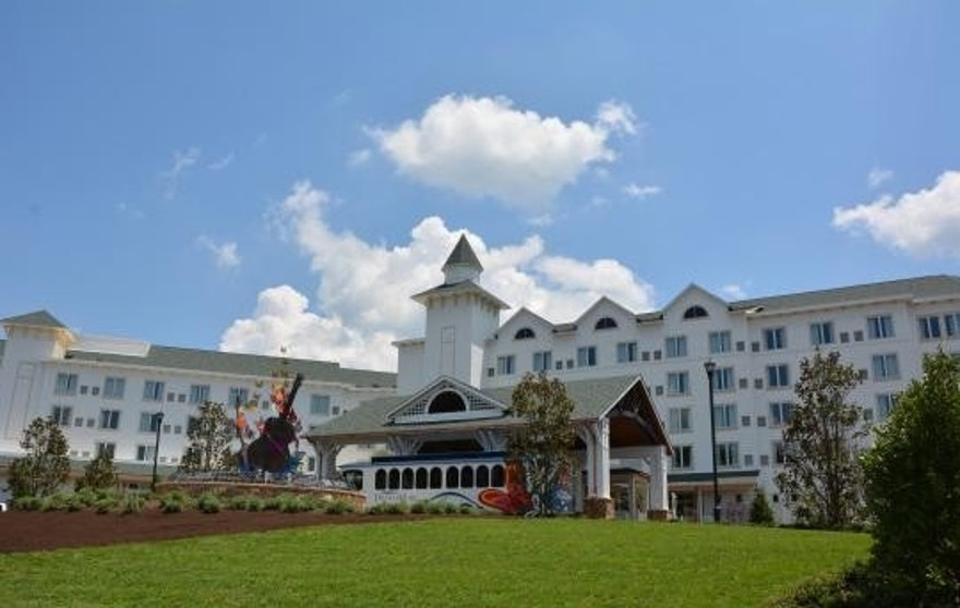 The impressive facade of Dollywood's DreamMore Resort.
