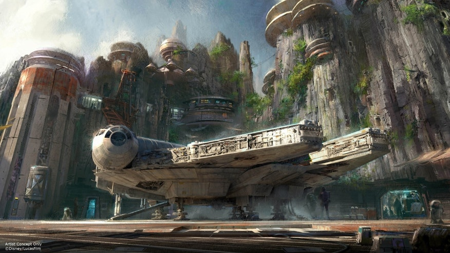 This image provided by Disney parks shows the Star Wars-themed lands will be coming to Disneyland park in Anaheim, Calif., and Disney's Hollywood Studios in Orlando, Fla., creating Disney's largest single-themed land expansions ever at 14-acres each, transporting guests to a never-before-seen planet, a remote trading port and one of the last stops before wild space where Star Wars characters and their stories come to life.