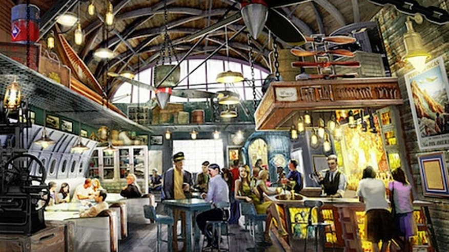 Jock Lindsey's Hangar Bar will be located in Downtown Disney and will feature food and drinks inspired by the pilot's globetrotting adventures.