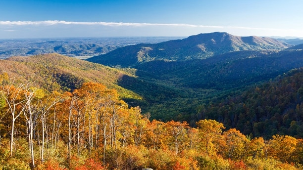 Autumn landscape with mountains in Shenandoah National park