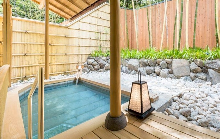 A private Japanese bath outside each room at the Suiran in Kyoto.