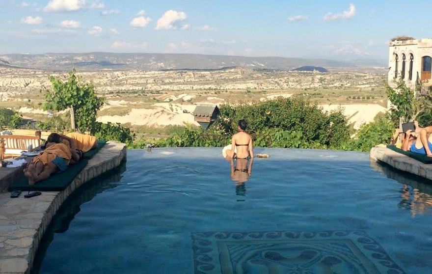 The Museum Hotel features stunning views of the Cappadocian valley.