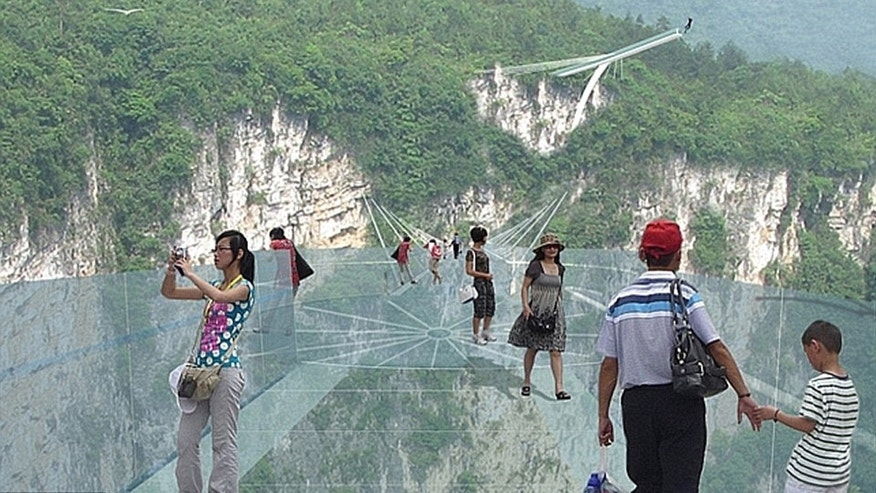 An artists rendering shows the Zhangjiajie Grand Canyon bridge that, once completed, will be 984 feet high and 1411 feet long.