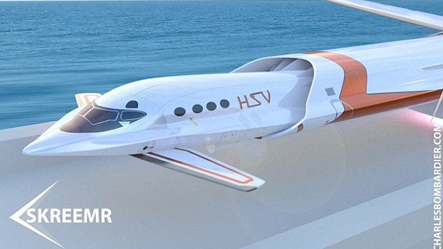 The Skreemr would hit speeds of over 10 times the speed of sound and take passengers from London to New York in just a half hour.