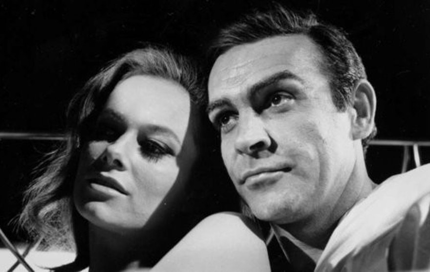 "Sean Connery with Luciana Paoluzzi in 1965's ""Thunderball."""