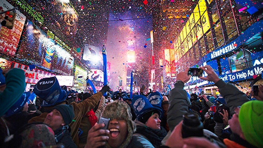 Revelers cheers under falling confetti at the stroke of midnight during the New Year's Eve celebrations in Times Square, Wednesday, Jan. 1, 2014.