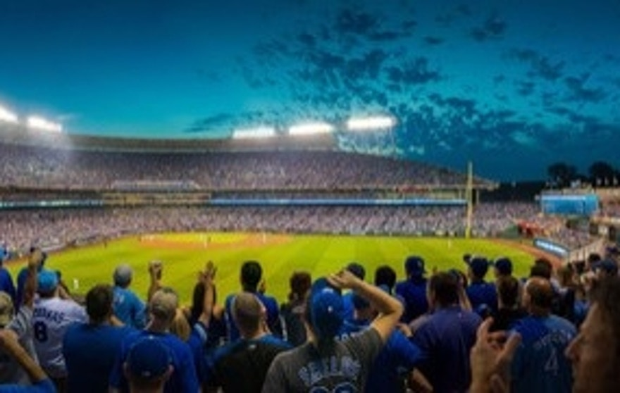 Kauffman Stadium, home of the Kansas City Royals.