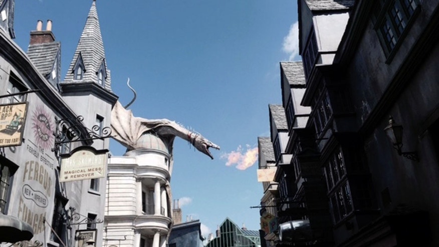 Front and center for the fiery dragon atop Gringotts in Diagon Alley.
