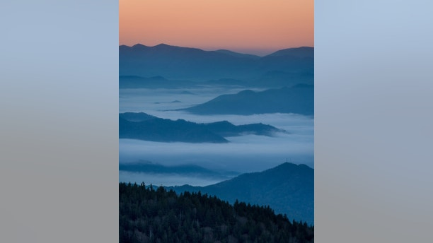 Sunrise from Clingmans Dome in Great Smoky Mountains National Park, Tennessee on October 20, 2014