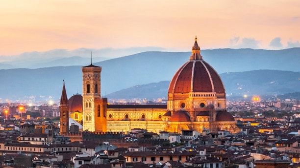Cathedral of Santa Maria del Fiore (Duomo) at dusk, Florence, Italy