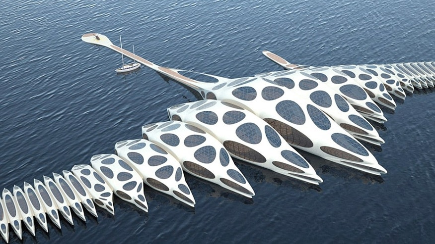 The MORPHotel design is a hotel with the ability to adapt and move with the ocean currents.
