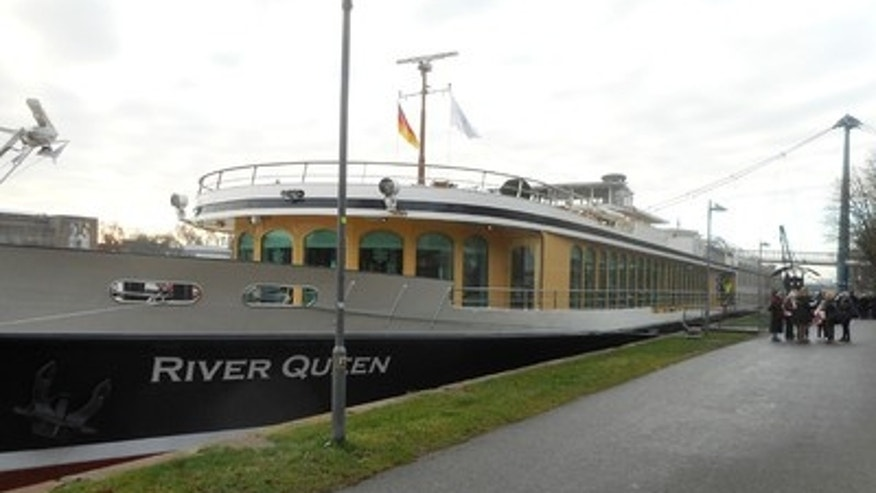 The Uniworld River Queen docked in Frankfurt.