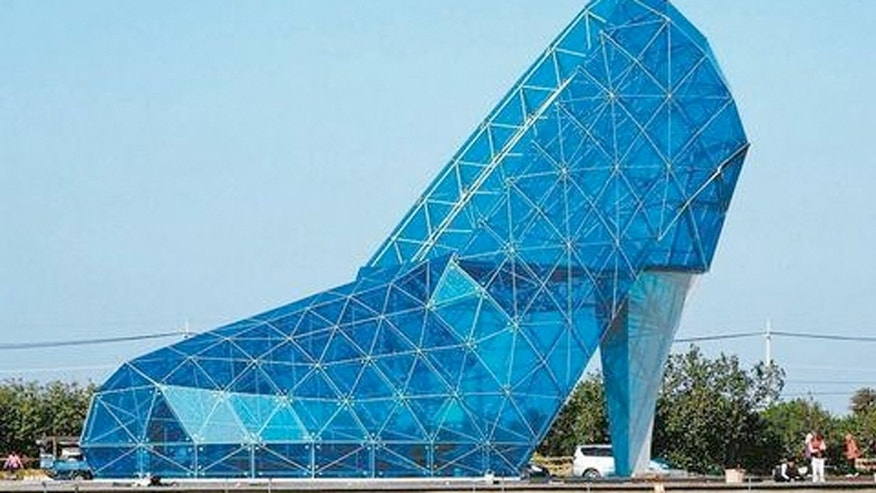The massive, high-heeled shaped house of worship is made almost entirely out of glass.