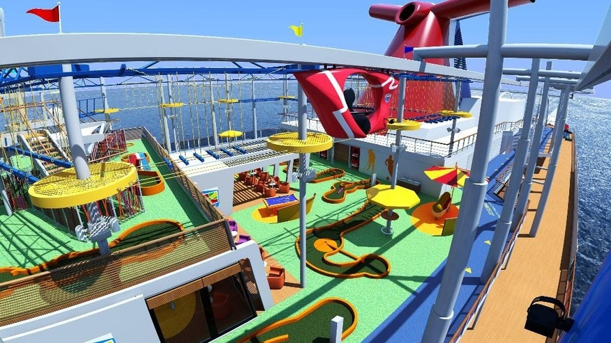 This undated rendering provided by Carnival Cruise Line shows SkyRide, a new attraction that will be onboard the Carnival Vista ship when the new vessel launches this spring. SkyRide lets guests cycle on bikes suspended from an 800-foot-long track 20 feet above the top deck and 150 feet above the water. Carnival Vista will be Carnival Cruise Line's largest ship. (Carnival Cruise Line via AP)