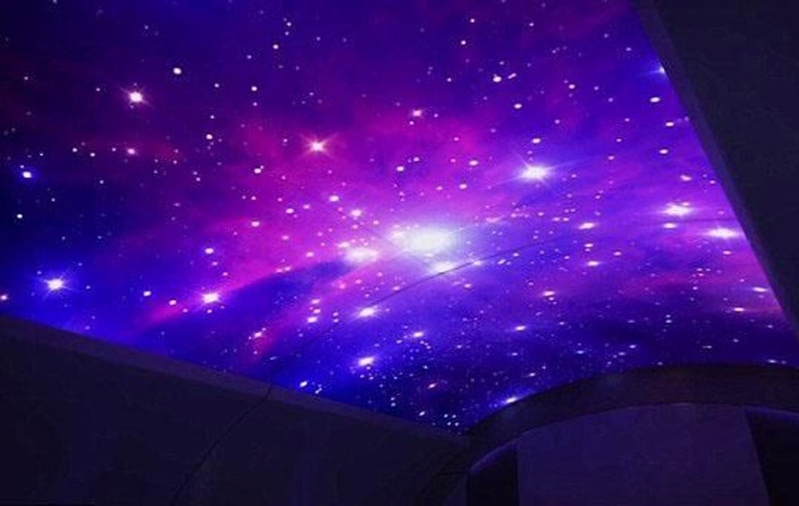 Fancy LED projections on cabin ceilings, including blue skies in the day and starry nights after dark.
