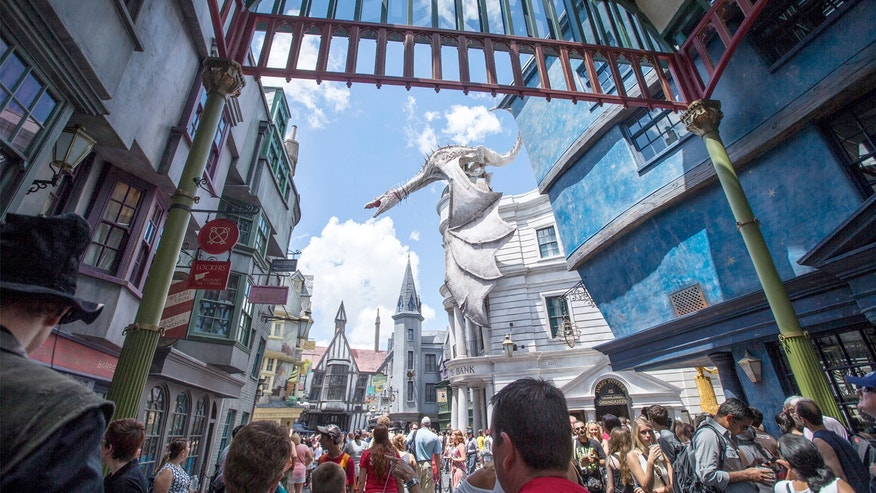 Diagon Alley at the Wizarding World of Harry Potter at Universal Orlando, in Orlando.