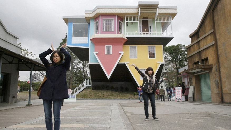 A house built upside down in Huashan Creative Park, Taipei, was created by a group of Taiwanese architects.