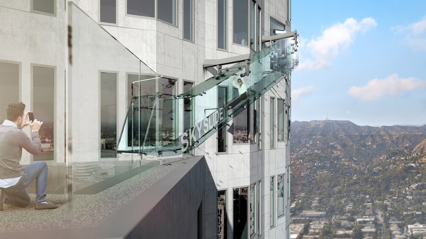 A visit to the glass slide off the side of the U.S. Bank Tower will cost $8.