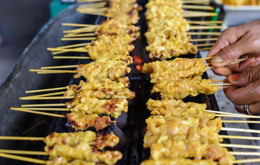 Grilled spices pork (Satay in Thai)