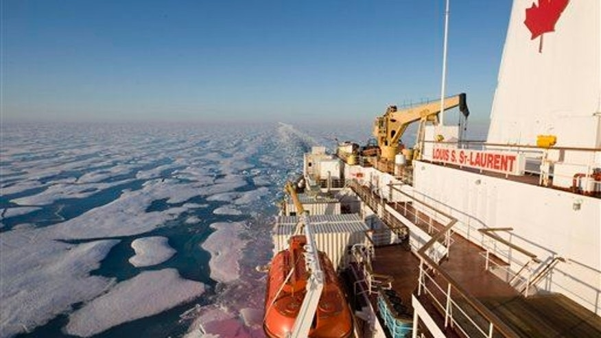 A file photo of he Canadian Coast Guard icebreaker Louis S. St-Laurent. In August, a cruise ship will travel through the Northwest Passage.