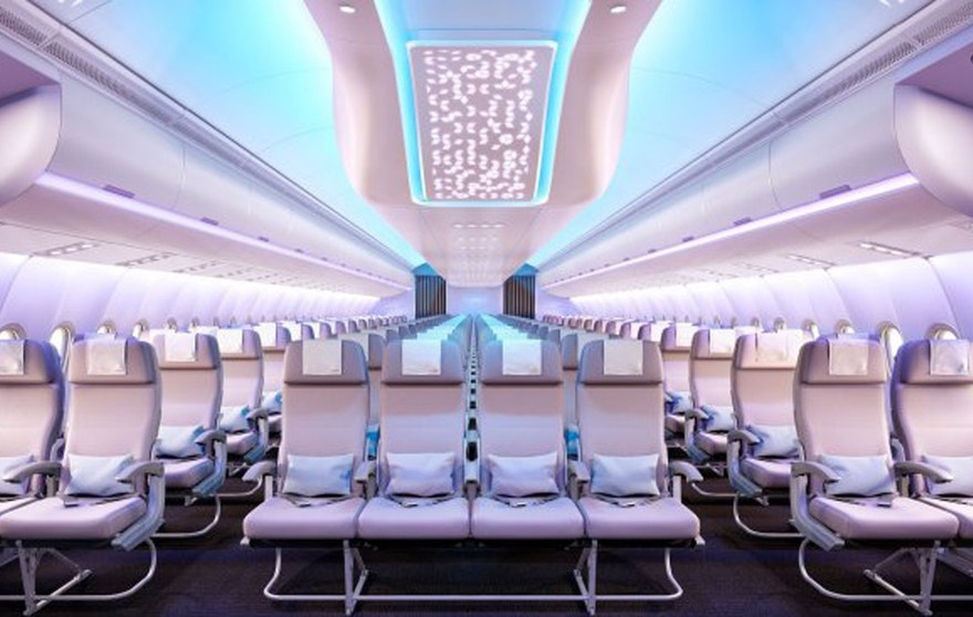 Economy seats in the new Airspace by Airbus are 18 inches wide. The lighting in the cabin can be changed to reflect the time of day. Overhead bins will fit five suitcases.