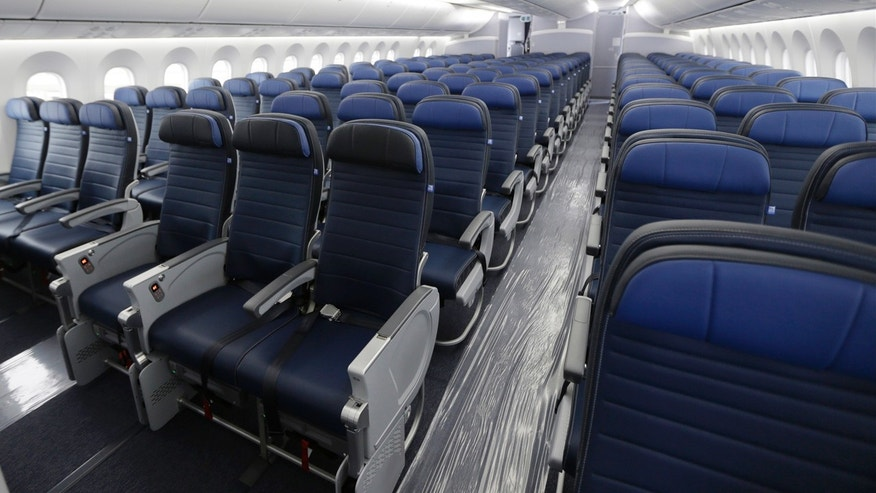 Jan. 26, 2016: Economy class seating is shown on a new United Airlines Boeing 787-9 undergoing final configuration and maintenance work at Seattle-Tacoma International Airport