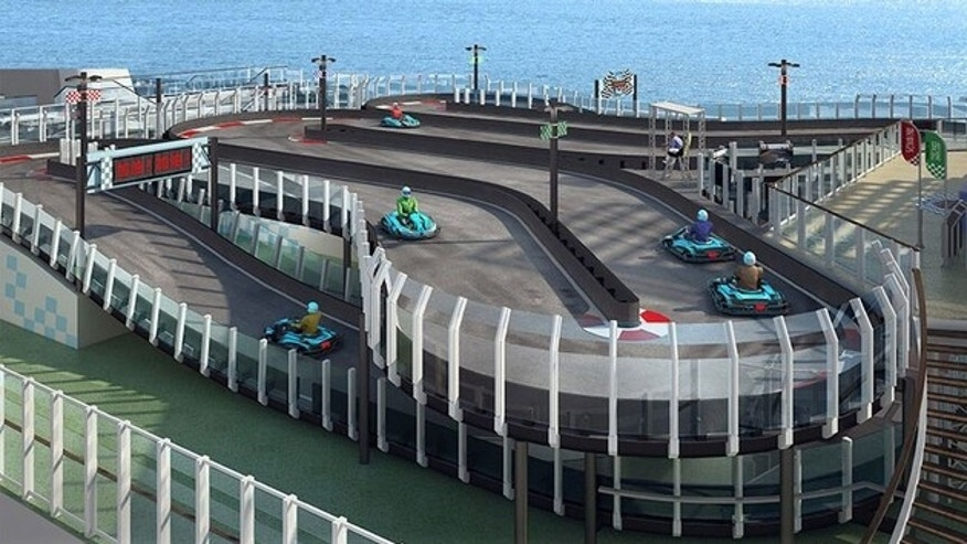 A rendering of the proposed go-kart track on the Norwegian Joy.