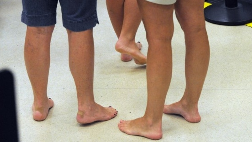 Think twice before going barefoot through airport security.