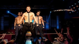 """This film image released by Warner Bros. shows, from left, Adam Rodriguez, Kevin Nash, Channing Tatum, and Matt Bomer in a scene from """"Magic Mike."""" (AP Photo/Warner Bros., Claudette Barius)"""