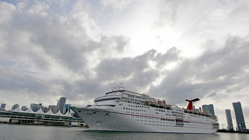 The Carnival cruise ship Ecstasy leaves the port in Miami, Florida, September 18, 2015.